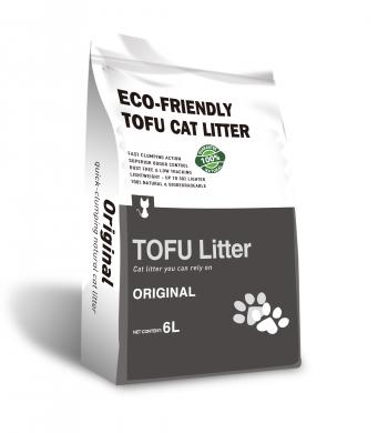 Экологически чистый комкующийся наполнитель Пищевой Тофу.